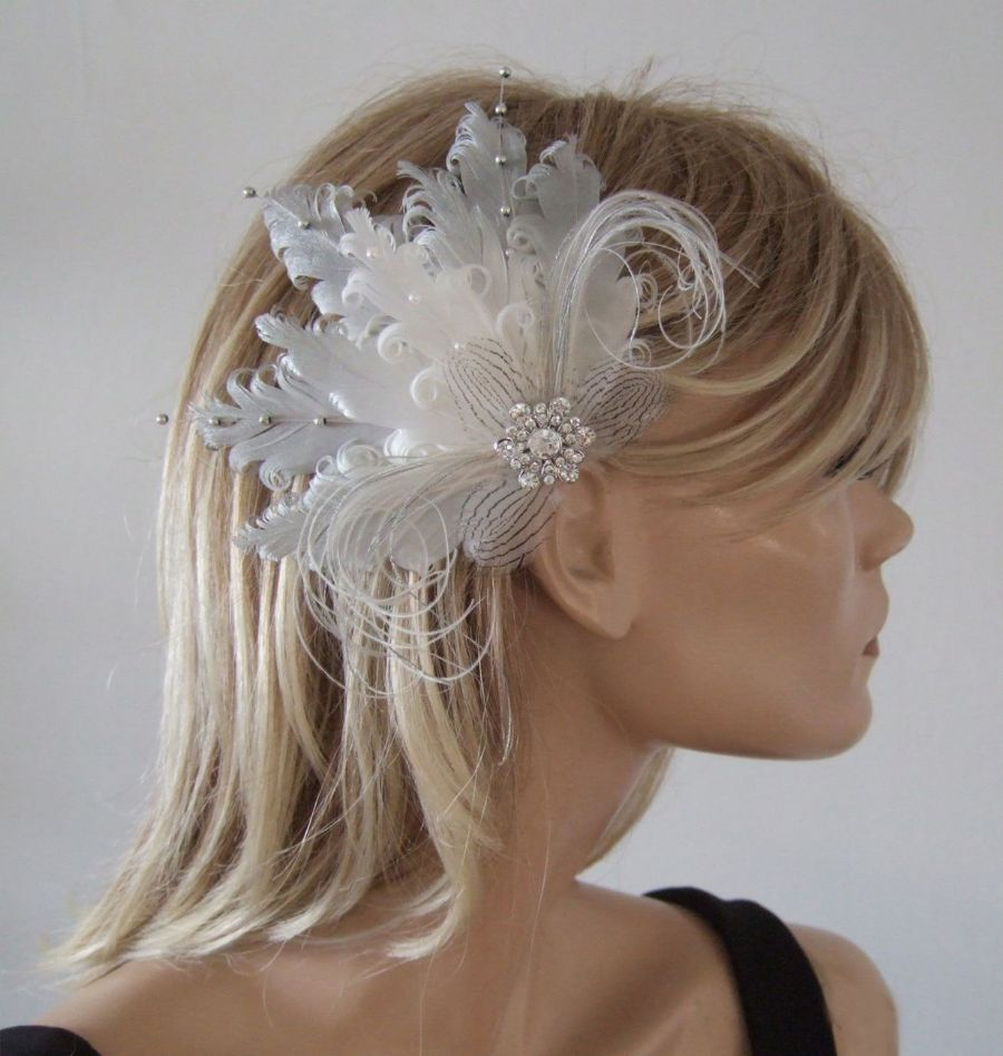 "Silver White Fascinator Curled Goose Nagoire Feather Fascinator Wedding Bridal Clip ""Perla"""